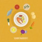 Ilustração do tempo de cozimento do vetor com ícones lisos Alimentos frescos e materiais no estilo liso Fotos de Stock