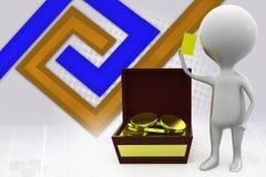 ilustração do tesouro do homem 3d Fotografia de Stock Royalty Free