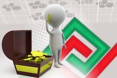 ilustração do tesouro do homem 3d Imagens de Stock