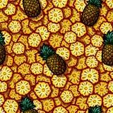 Ilustração do teste padrão sem emenda do abacaxi fresco para seu projeto Fotografia de Stock