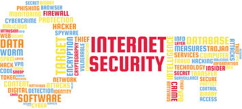 Ilustração do texto da nuvem da palavra da segurança do Internet na forma de uma chave ilustração stock
