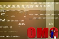 ilustração do texto do omg da pintura do homem 3d Fotografia de Stock Royalty Free