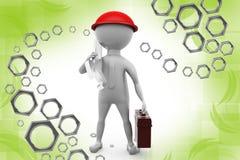 ilustração do trabalhador do homem 3d Imagens de Stock