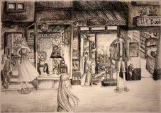 Ilustração do traditoinal da rua da compra Fotografia de Stock Royalty Free