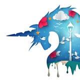 Ilustração do unicórnio dos desenhos animados Paisagem de papel ilustração royalty free