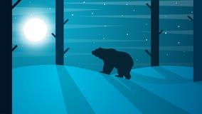 Ilustração do urso dos desenhos animados Paisagem do inverno Árvore, sol, rã ilustração royalty free