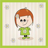 Ilustração do verão da menina dos desenhos animados Fotos de Stock Royalty Free