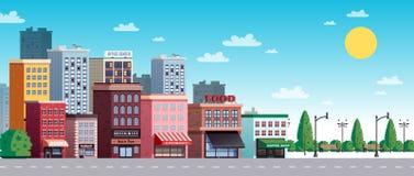 Ilustração do verão da rua da cidade da cidade ilustração stock