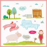 Ilustração do verão ou da mola com animais engraçados Fotografia de Stock Royalty Free