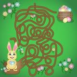 A ilustração do vetor é um jogo do labirinto do divertimento para crianças Ajude o coelhinho da Páscoa a encontrar sua cesta ilustração royalty free