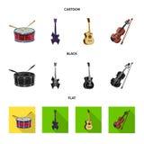 Ilustração do vetor do ícone da música e do acordo Coleção do ícone da música e do vetor da ferramenta para o estoque ilustração stock