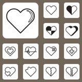 Ilustração do vetor, ícone do amor do coração para o projeto e Wor criativo Fotos de Stock