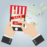 Ilustração do vetor ícone em linha da loja no telefone esperto móvel com Fotos de Stock Royalty Free