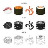 Ilustração do vetor do ícone do sushi e do arroz Ajuste do símbolo de ações do sushi e do atum para a Web ilustração royalty free