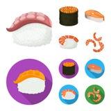 Ilustração do vetor do ícone do sushi e do arroz Coleção do ícone do vetor do sushi e do atum para o estoque ilustração do vetor