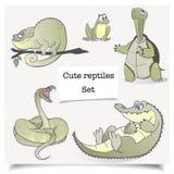 Ilustração do vetor Animais desenhados à mão Grupo de coleções dos répteis dos desenhos animados imagens de stock