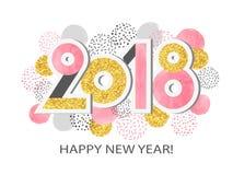 Ilustração do vetor do ano novo feliz 2018 Fotografia de Stock Royalty Free
