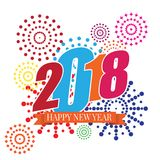 Ilustração do vetor do ano novo feliz 2018 dos fogos-de-artifício Fotos de Stock Royalty Free