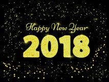 Ilustração do vetor do ano novo feliz 2018 ouro e collors pretos Palavras com felicitações sobre o ano novo feliz Imagens de Stock Royalty Free
