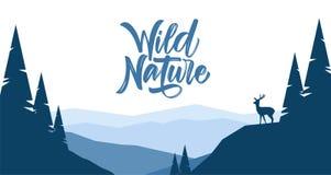 Ilustração do vetor: As montanhas lisas ajardinam com montes, pinho e silhueta dos cervos ilustração stock