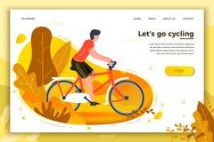 Ilustração do vetor - bicycle o homem da equitação no parque ilustração stock