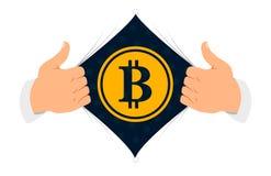 Ilustração do vetor do ` do bitcoin do ` da camisa da abertura Fotografia de Stock Royalty Free