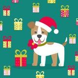Ilustração do vetor Cachorrinho em um chapéu com uma curva no fundo dos presentes Imagem do Natal para a decoração Ano de Imagens de Stock Royalty Free