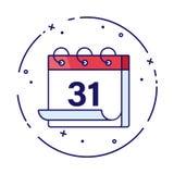 Ilustração do vetor do calendário ou do planejador por feriados de inverno 31 de dezembro ilustração Celebração do ano novo Mês n ilustração stock