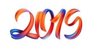 Ilustração do vetor: Caligrafia colorida da rotulação da pintura da pincelada de 2019 no fundo branco Ano novo feliz ilustração stock