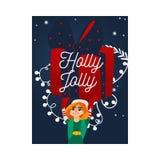 Ilustração do vetor cartão das felicitações do Natal e do ano novo com o duende bonito que guarda a caixa de presente envolvida g ilustração stock