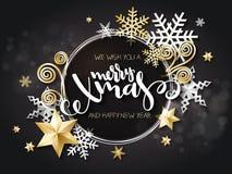 Ilustração do vetor do cartão do Natal com etiqueta da rotulação da mão - xmas alegre - com estrelas, sparkles, flocos de neve ilustração do vetor
