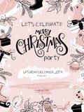 Ilustração do vetor do cartaz da festa de Natal com etiqueta da rotulação da mão - Natal, e elementos tirados mão - abeto Imagens de Stock