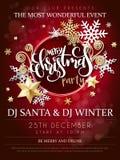 Ilustração do vetor do cartaz da festa de Natal com etiqueta da rotulação da mão - Natal - com estrelas, sparkles, flocos de neve ilustração stock