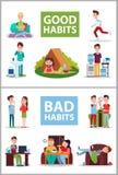 Ilustração do vetor do cartaz dos bons e hábitos maus ilustração royalty free