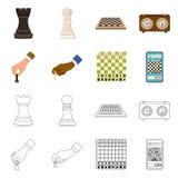 Ilustração do vetor do checkmate e do ícone fino Ajuste da ilustração do vetor do estoque do checkmate e do alvo ilustração stock