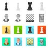 Ilustração do vetor do checkmate e do ícone fino Coleção da ilustração do vetor do estoque do checkmate e do alvo ilustração do vetor