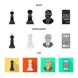 Ilustração do vetor do checkmate e do símbolo fino Ajuste do ícone do vetor do checkmate e do alvo para o estoque ilustração royalty free