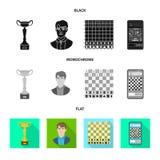 Ilustração do vetor do checkmate e do símbolo fino Ajuste do ícone do vetor do checkmate e do alvo para o estoque ilustração do vetor