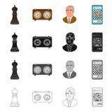 Ilustração do vetor do checkmate e do símbolo fino Coleção do ícone do vetor do checkmate e do alvo para o estoque ilustração royalty free