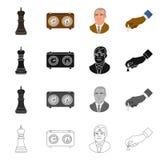 Ilustração do vetor do checkmate e do sinal fino Ajuste do ícone do vetor do checkmate e do alvo para o estoque ilustração royalty free