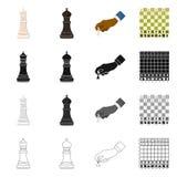 Ilustração do vetor do checkmate e do sinal fino Ajuste da ilustração do vetor do estoque do checkmate e do alvo ilustração do vetor