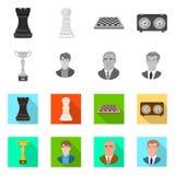 Ilustração do vetor do checkmate e do sinal fino Coleção do ícone do vetor do checkmate e do alvo para o estoque ilustração royalty free