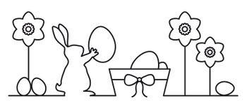 Ilustração do vetor do coelhinho da Páscoa da bandeira Fotos de Stock
