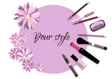 Ilustração do vetor com artigos dos cosméticos Fotografia de Stock Royalty Free
