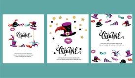 Ilustração do vetor com carnaval e objetos comemorativos ilustração stock