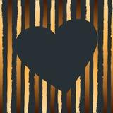 Ilustração do vetor com coração e as listras douradas ilustração royalty free