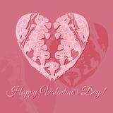 Ilustração do vetor com coração floral da garatuja Fotos de Stock