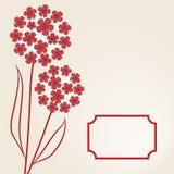 Ilustração do vetor com flores e frame Fotos de Stock
