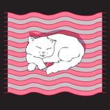 Ilustração do vetor com gato do sono Imagens de Stock Royalty Free