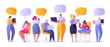 Ilustração do vetor com grupo de caráteres lisos dos povos que conversam em redes sociais ilustração stock